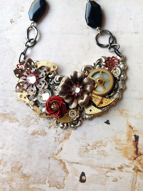 Steampunk Flower Necklace - Black and Red Enamel Flowers with Watch Gears and Beaded Chain - Fiery Phoenix