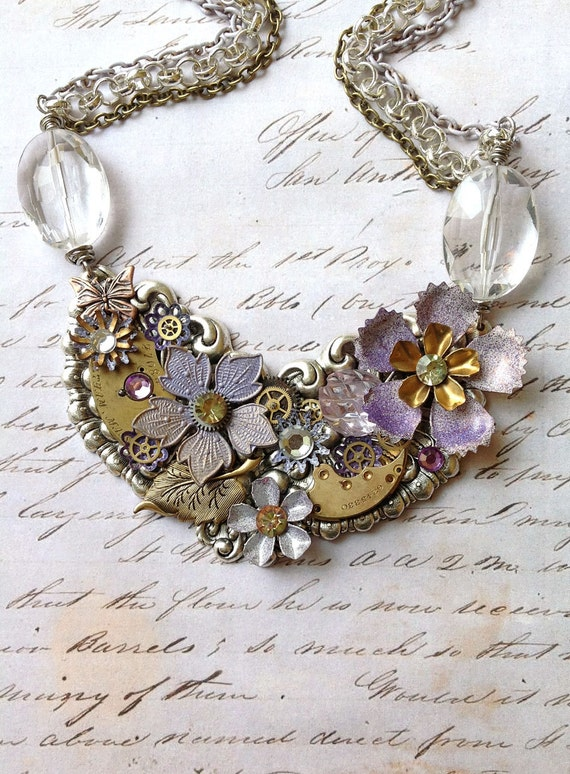 Steampunk Flower Necklace - Lavender and Gold Enamel Flowers with Watch Gears and Jewels - Sweet Lilac