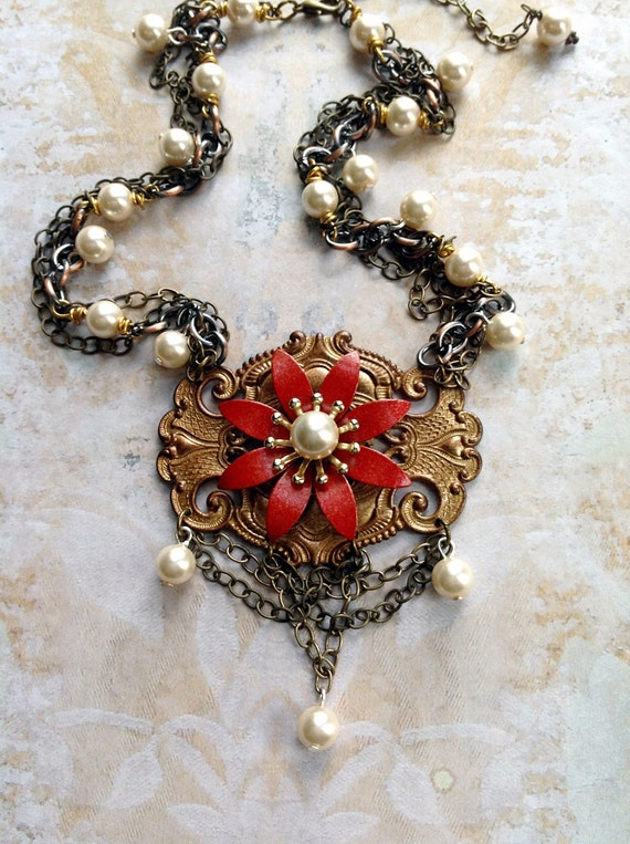 Milk of the Poppy Necklace - Fantasy Medieval Red Flower with Draped Chain and Faux Pearl Beads