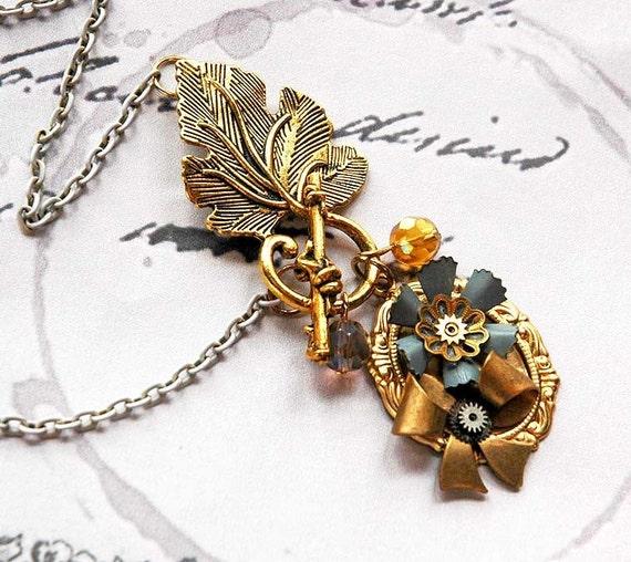 Victorian Doll - Enamel Spring Steampunk Flower Necklace
