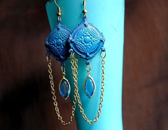 Bohemian Midnight Ball - Vintage Indigo Blue and Gold Long Neo Victorian Eco Friendly Enamel Chandelier Earrings