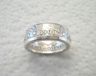 Sizes 8 - 14. Coin Ring, Barber Half Dollar. Crevice Toned Finish. Place Your Custom Order Here.