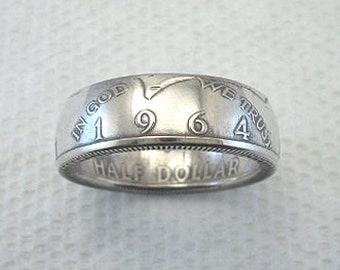 Sizes 8 - 14. Coin Ring, 1964 Kennedy Half Dollar, Polished Silver Finish. Place Your Custom Order Here.