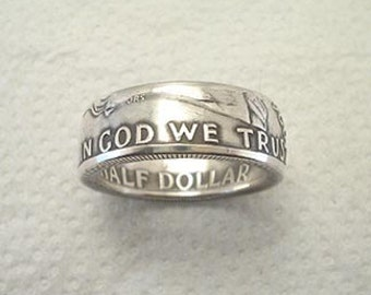 Sizes 8 - 12 1/2. Coin Ring, Franklin Silver Half Dollar, Place Your Custom Order Here.