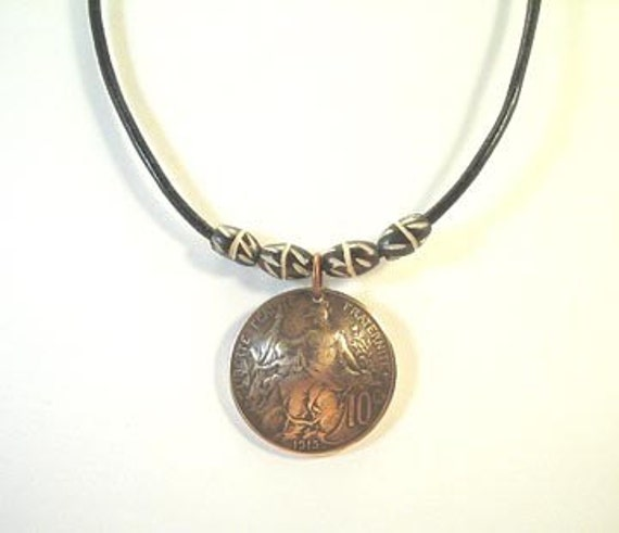 Coin Necklace, 1915 French 10 Centimes, Domed Coin, Beaded Round Leather