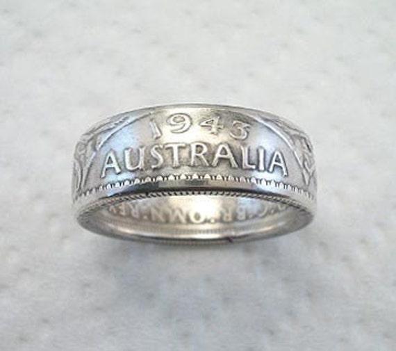 Coin Ring. 1943 Australia, Silver Florin, Size 9 1/2