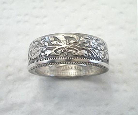 Coin Ring. Swiss Helvetia Silver 2 Franc. Place Your Custom Order Here. Sizes 6 1/2 - 10 1/2