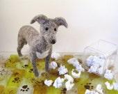 I Apologize - Flat Note Card \/ Postcard with I'm Sorry Poem - Needle Felted Greyhound Dog SALE