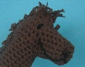 Gaston the Horse, Crochet Finger Puppet or Mitten made of Recylced Cotton