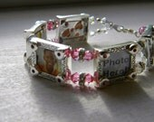 Mother's Day Picture Frame Charm Bracelet (Pink & Red) with Free Mom Pin