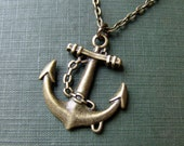 Lost at Sea Anchor Necklace in Brass