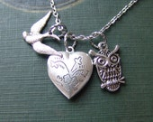 Flower Locket, Sparrow and Owl Necklace in Silver
