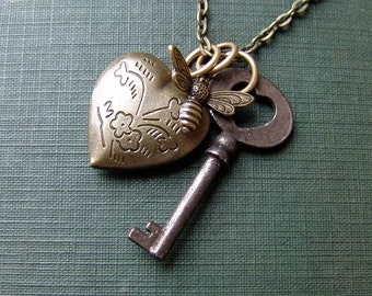 Bee and Floral Locket Necklace in Brass