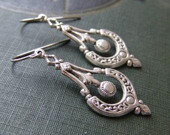 Silver Scroll Charm Earrings