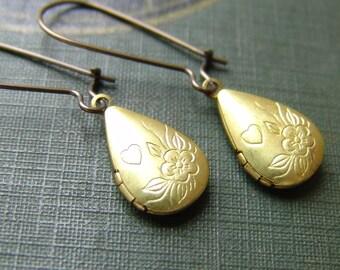 Flower and Heart Pear Locket Earrings