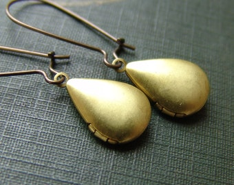Simple Pear Locket Earrings