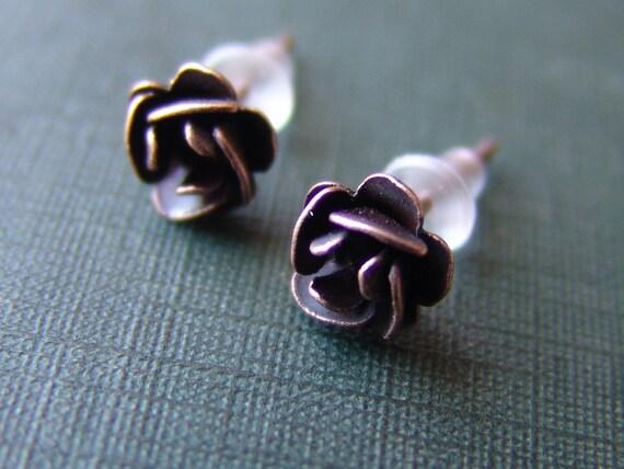 Vintage Copper Rose Stud Earrings