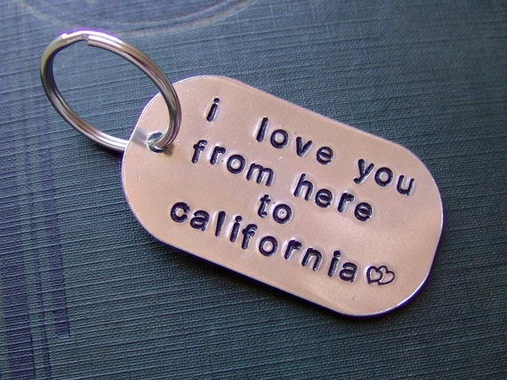 Hand Stamped Keychain...i love you from here to...