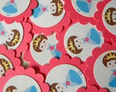 Princess Favor Tags, Pink Scalloped Embellishments for DIY Cupcake Toppers, Bruenette, Set of 12