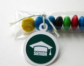 Graduation Candy Treat Bag Favors, Senior, Set of 12, Green, White