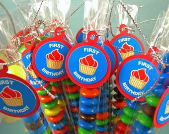1st Birthday Cupcake Favors, Candy Treat Bags, Red, Blue, Set of 12