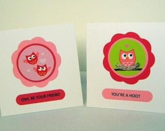 Valentine Owl Mini Card Kit Makes 24, 3x3, DIY