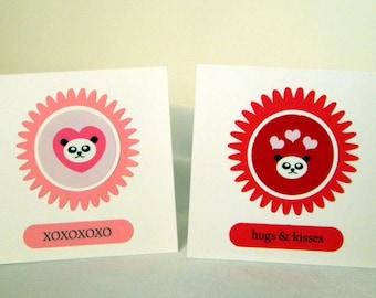 Valentine Panda Cards - DIY Kit Makes 24 3x3