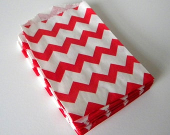 Favor Bags, Chevron, Red and White, Little Bitty, Set of 25, 2 3/4 by 4 inches