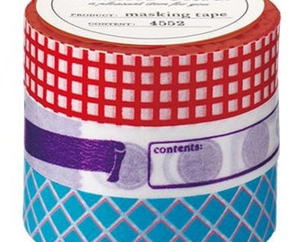 Washi Tape, Japanese Masking, Vitamin Supplement, Mark'sphere, Red, Blue, Purple, Set of 3