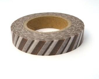Brown Striped Washi Tape, Japanese Masking Tape, Gift, Scrapaholic Collection