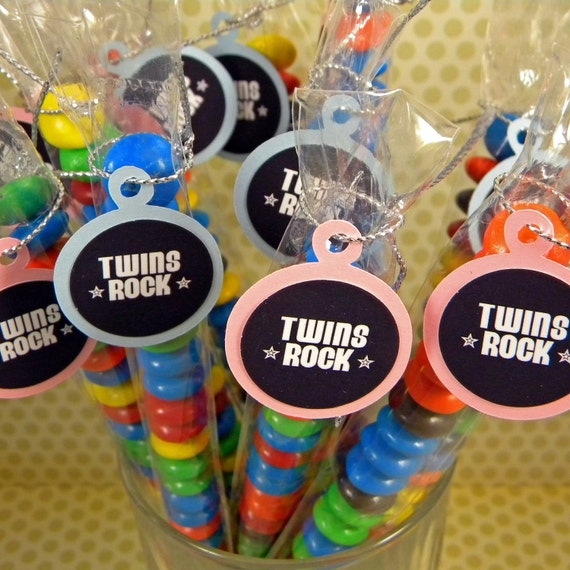 Twin Baby Shower Candy Treat Bag Favors - Set of 12, Pink and Blue