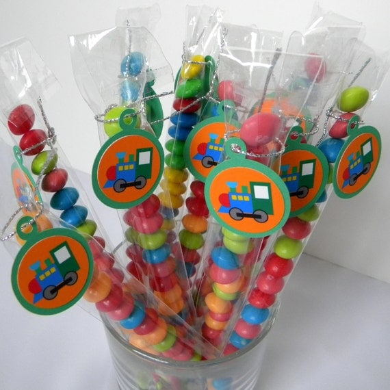 Train Candy Treat Bag Favors, Set of 12, Blue, Green
