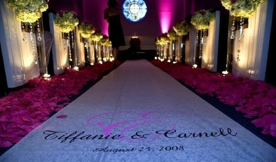 Free Rush Includes 25 ft Aisle Runner and painted monogram for Wedding OTHER SIZES AVAILABLE- Free monogram Included