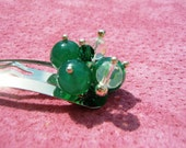 Genuine jade and swarovski crystal beaded hair clip