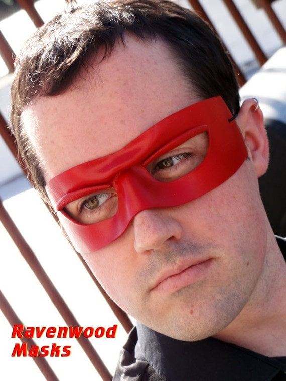 Masquerade mask - red leather  - Zorro - Made to order
