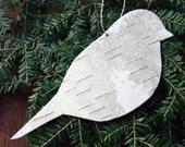 Birch bark bird ornament, Chickadee