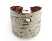Medium size birch bark cuff bracelet, Woodpecker Hole