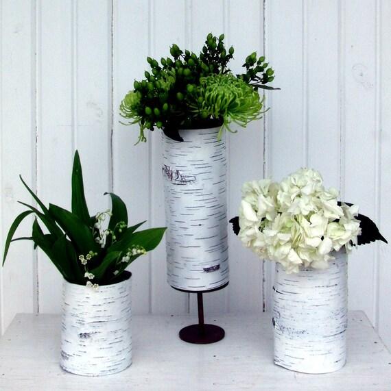 Set of 3 white birch bark vases in Blanc