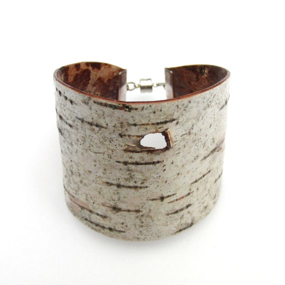 Medium size birch bark cuff bracelet, Woodpecker Hole