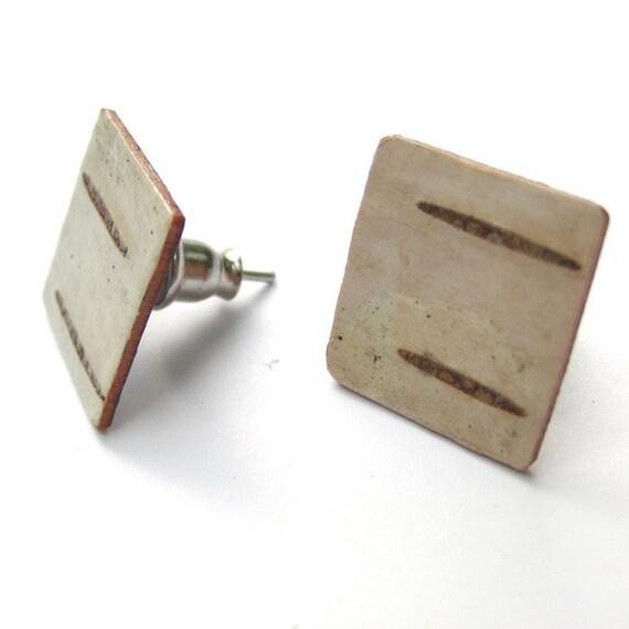 Birch bark post earrings, Square Posts