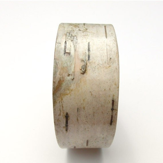 Birch bark cuff bracelet, White Wood