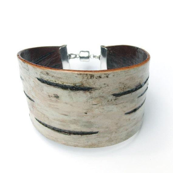 Birch bark cuff bracelet, Petaline
