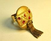 Huge gold statement ring with fringe and Swarovski crystals my original design adjustable 24K gold band