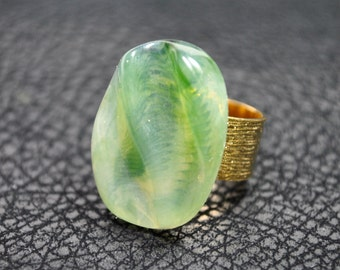 Pale green statement ring celadon green on 24K gold plated adjustable cocktail ring made from vintage jewelry