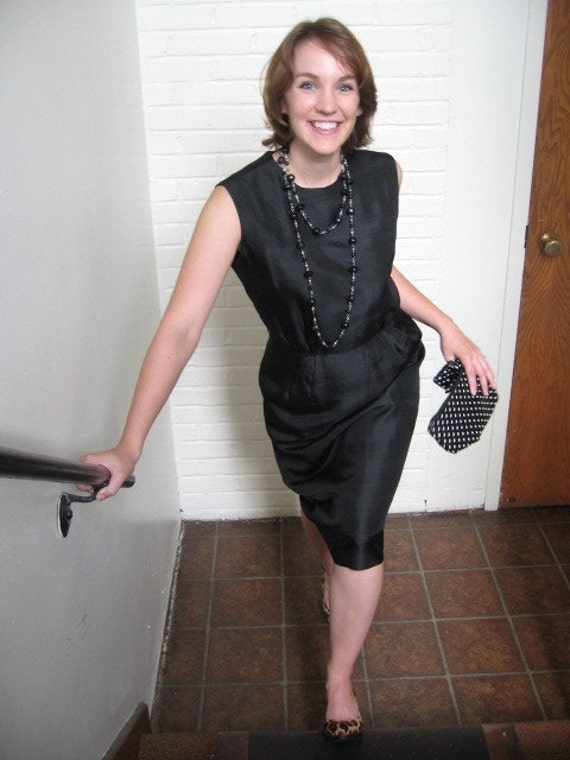 RESERVED FOR JUDE Vintage brown silk wiggle dress 1960s great for office wear Sz 12 Excellent condition