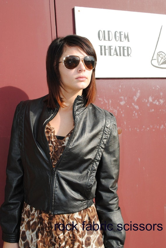 Vintage black leather jacket Berman 1980s Michael Jackson style Sz 10