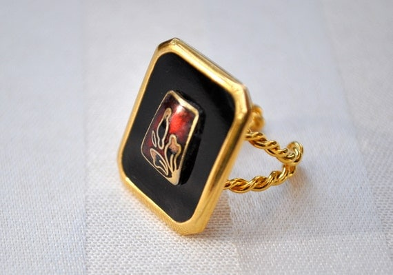 Big black ring with red India flower inlay 24kt gold adjustable my original design