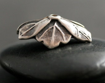 Leaf Bead Cap for Lampwork Tab Bead in Sterling Silver