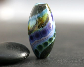 Lampwork Focal Bead - 32mm - Lampwork Beads - Blue Green