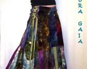 Hemp Side Corset Patchwork Pants Hand Dyed . NEBULOUS Original Design Aura Gaia Wearable Art . VERY Adjustable Fit Med-Lge